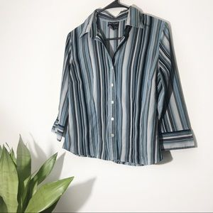 Bay Studio Career   Striped 3/4 Sleeve Button Down